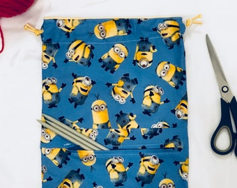 Minions Yarn Project Bag with front pocket