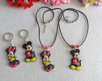 Minnie and Mickey Mouse Set of Necklaces or Key Holders