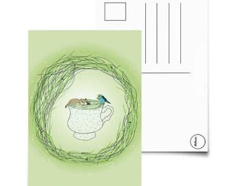 Sick dog in a teacup - Postcard