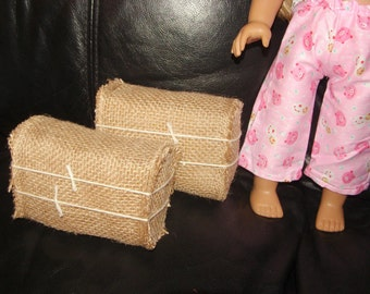Fits American 18 inch Girl Mini Bales of Hay Lot of 2 Horse Stable Farm Items, Fall Home Decor Thanksgiving Burlap  1:3 scale