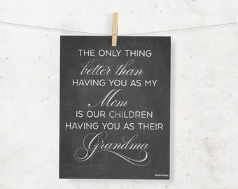 Grandma Chalkboard Digital 8 x 10 Print -- Typography -- Grandmother -- Instant Download -- Customizable -- Mother's Day gift