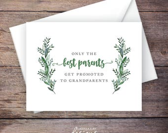 Greenery Printable Only the Best Parents Get Promoted to Grandparents Pregnancy Announcement, Botanical, Instant Download Card – Monroe