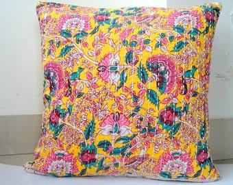 Kantha Pillow Spring decor Floral, Birds n squirrels Print on Lemon Yellow  kantha cushion covers
