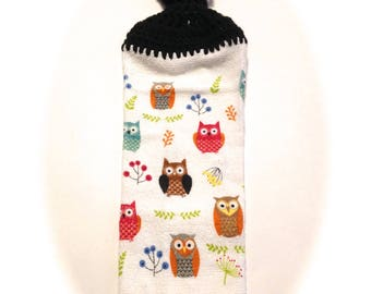 Owls Dish Cloth With Black Crocheted Top