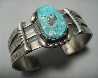 Rare!! Vintage Navajo Old Morenci Turquoise Setrling Silver Bracelet