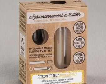 Coffret 1 saveur Assaisonnement à tailler Citron et Sel, crayons d'épices & condiments, cadeau foodie pour cuisine innovante