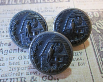 """Set of 3 Matching VINTAGE Metal PICTURE/STORY Buttons*Barn Swallow on Her Nest*Bird* 5/8"""" across     (9769)"""