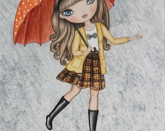 Girl with Umbrella in the Rain Watercolor Original Painting. Whimsical girl and rain art. Cute rain girl illustration. Cute art for girls.