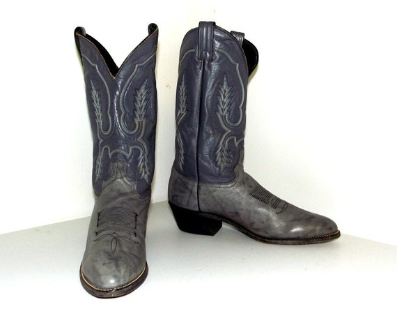 tone Two or Boots Cowboy 10 size D 12 Vintage leather 5 size Cowgirl grey tpqEx1w