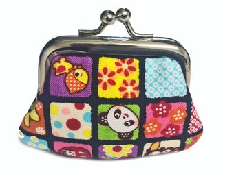 Panda Squares - Tiny Kiss Lock Metal Frame Purse