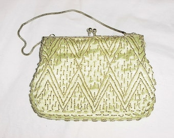 Vintage 70s Gold Beaded Purse Formal Dance As Is