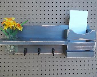 Grey Mail Organizer/Mason Jar Wall Holder/Kitchen Decor/Office Decor