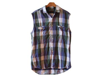Sleeveless Flannel Shirt Blue Green White Size Large