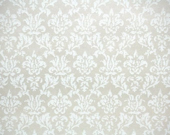 1940s Vintage Wallpaper by the Yard - White and BeigeTextured Damask