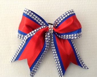 Cheer Bow-blue,red and rhinestones.