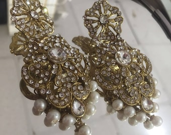 Stunning indian gold and silver stone earrings