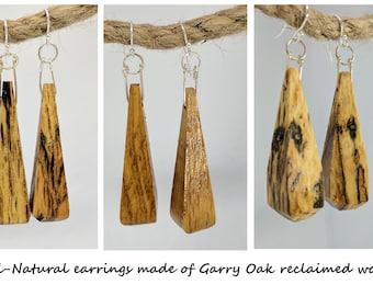 Garry Oak Earrings - Reclaimed wood