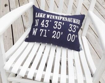 GPS Coordinates Pillow - latitude longitude pillow, coordinates gift, personalized coordinates, latitude longitude gift, nautical pillow
