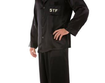 PLUS SIZES:  Luxury Men's Satin Pajamas Nightsuit with a Handmade PERSONALIZED Embroidery of Your Choice