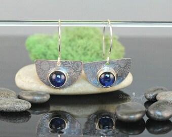 Ocean Blue Glass + Copper Earrings