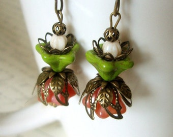 Cottage Chic Flower Earrings - Czech Glass Flower Swarovski Crystal and Antiqued Brass Dangle Beaded Vintage-Style Earrings