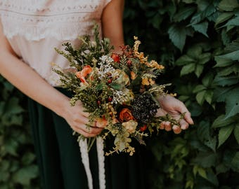 Wedding floral bouquet Wild flower bouquet Autumn style Wedding accessories Magaela accessories Handmade product Bouquet for brides