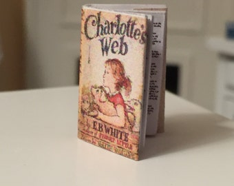 Miniature Charlotte's Web Book, Dollhouse Miniature, 1:12 Scale, Mini Book, Color Book Cover, Printed Pages, Dollhouse Accessory