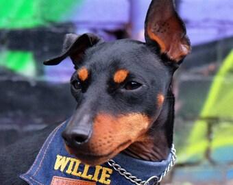 Custom Dog Bandana / Personalized Dog Bandana / Denim Dog Bandana / Customised Dog Bandana