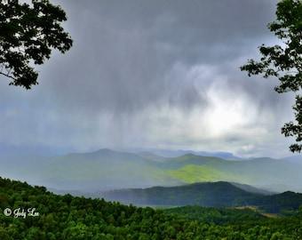 Blue Ridge, Smoky Mountains, Mountain Photography, Rainy Mountains, North Carolina, landscape Photography, Nature Photography, Wall Art,