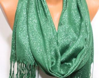 Green Silver Shimmery Evening Shawl Scarf Wedding Shawl Women's Fashion Accessories Holiday Gift Ideas For Her For Mom ESCHERPE