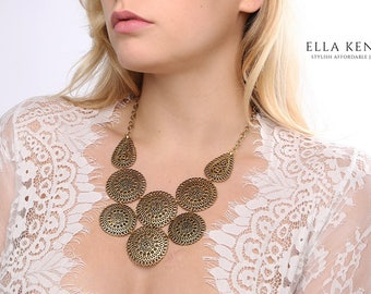 Medina Bib Necklace, Gold Bib Necklace, Gold Statement Necklace, Gold Collar Necklace, Bridal Statement Necklace, Wedding Statement Necklace