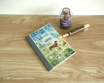 Pocket Notebook, Dog Lover Journal Lined | Upcycled Dachshund 'Sausage Dog' Postage Stamp | Blue Green Landscape Collage | Eco Friendly Gift