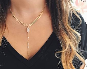 Fishbone lariat   Moonstone   14k gold   dainty gold necklace
