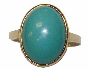 Estate Turquoise 18K Gold Ring