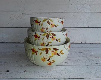 3 Vintage Hall Pottery Nesting Bowls Autumn Leaf Jewel Tea Mixing Bowls Mary Dunbar