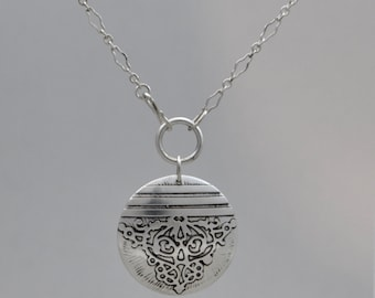 Sterling Silver Lg Fierce Disc Necklace, silver, sterling, necklace, disc, etched, handmade