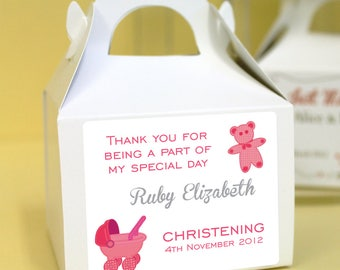 Personalised Christening / Baptism Cup Cake Boxes - Pink Teddy