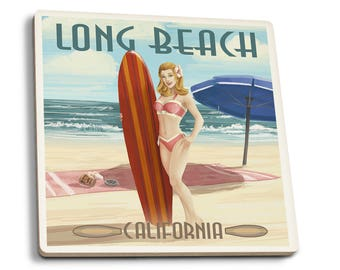 Long Beach, CA - Pinup Surfer Girl - LP Artwork (Set of 4 Ceramic Coasters)