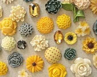 Yellow Ivory Gray Cork Board Thumbtacks, Mix Flower Pushpins Set, Office Push Pin Gift Set, Beautiful Thumbtack Set, Gold Pins, Strong Tacks