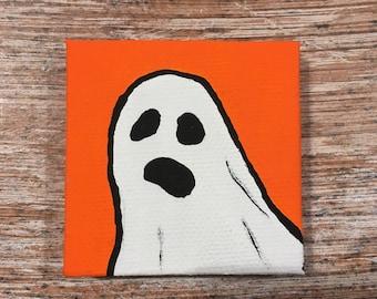 "2x2"" Ghost Portrait on Orange"