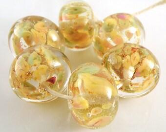 Golden Blossoms Encased SRA Lampwork Handmade Artisan Glass Donut/Round Beads Made to Order Set of 6 10x15mm
