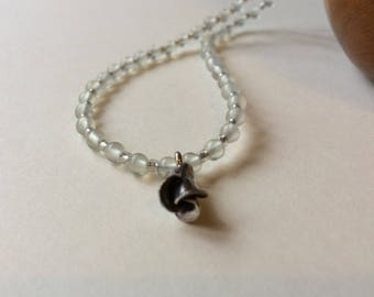 New Jade OOAK Sterling Silver Rose Bud Necklace Stunning Very dainty