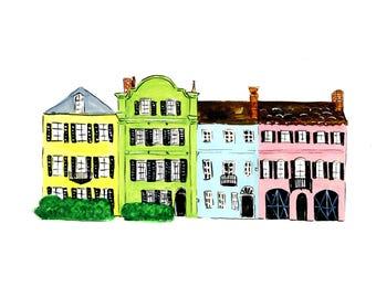 Rainbow Row Charleston Print of  Gouache Illustration