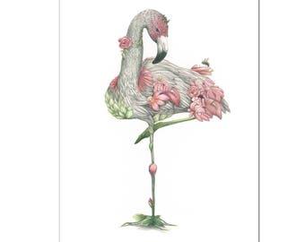 Flamingo Print Pink Flowers Print A3