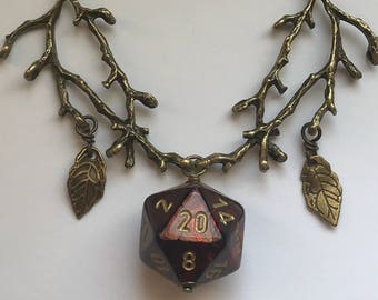 druid d20 dice necklace dungeons and dragons pendant critical role fan stranger things tabletop gaming geek dnd dungeon master rpg