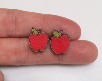 Wood laser cut earrings studs -hand painted delicious red apple perfect for school teacher