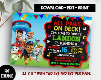 Paw Patrol Editable Etsy - Paw patrol invitation template