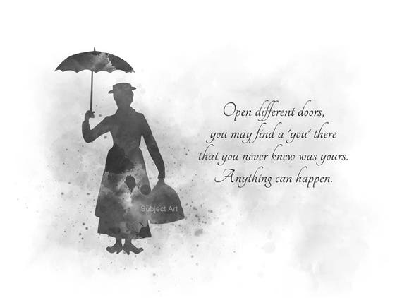 ART PRINT Mary Poppins Quote Illustration Black And White