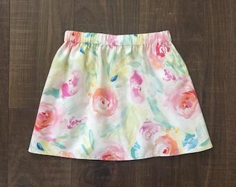 READY TO SHIP, Size 5t Skirt, Floral Skirt, Flower Skirt, Watercolor Floral Skirt, Pastel Skirt, Spring Skirt, Girls Skirt, Toddler Skirt,