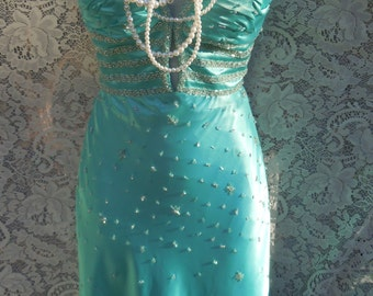 Blue satin dress   formal gown bridesmaid scarlet crimson party cocktail turquoise teal beaded xxs , from vintage opulence on Etsy